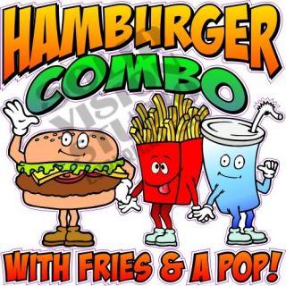 Hamburger Combo Concession Trailer Deli Food Lunch Truck Cart Sign