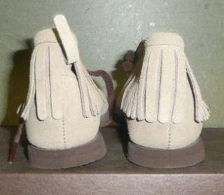 Vtg Childs Boy Girl Suede Ankle Mocassin Moccasin Boots Hard Sole 3061