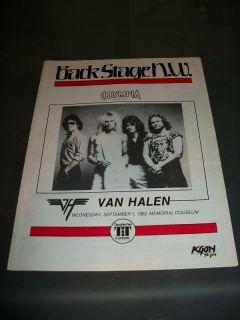 Van Halen 1982 Concert Program Eddie David Lee Roth VH