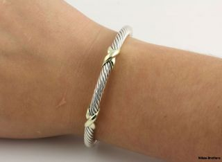 Authentic David Yurman Double X Cable Cuff Bracelet   Sterling Silver