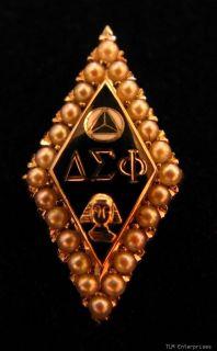Delta Sigma PHI Fraternity Pearl 14k White Gold Pin