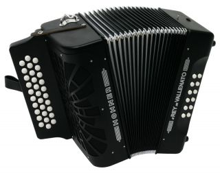 Hohner Black El Rey Del Vallenato Accordion Cinco Letras SI with