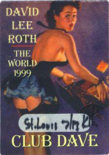 David Lee Roth 1999 Backstage Pass Van Halen St Louis