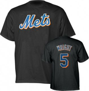 David Wright Black Majestic Player Name and Number New York Mets T