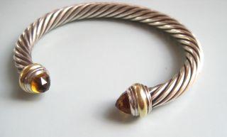 David Yurman Bracelet 14k 585 Gold 925 7mm Sterling Silver Citrine