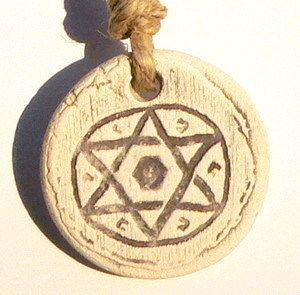 Clay Star of David Pendant w/String Necklace, Jewish Judaica Gift Made
