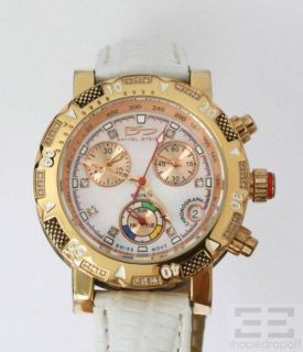Daniel Steiger White Leather Gold Chronograph Ladies Watch Model DS