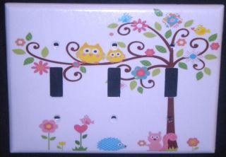 Dena Happi Tree Tripple Light Switch Cover Owl Switch Plate Kids Line