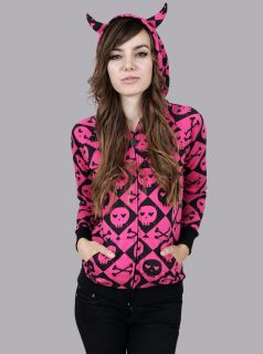 ABBEY DAWN AVRIL LAVIGNE AAARRGYLE SKULL HORN HOODIE NWT S+ free gift