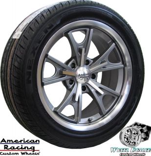 17x8 GRAY AMERICAN RACING DAYTONA WHEELS NEXEN TIRES FORD MUSTANG 1965