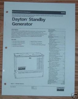 Dayton 4LM42 8KW Generator Operation Parts Manual