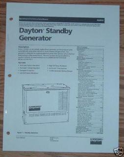 Dayton 4LM42 8KW Generator Operation Parts Manual