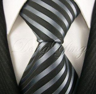 Deng Ying New Striped Black Jacquard Woven Mens 100 Silk Ties Necktie