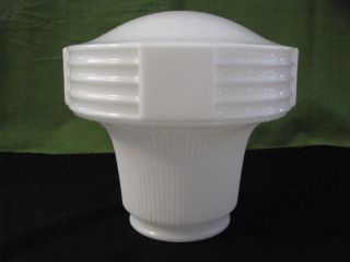 Vintage Art Deco Ribbed Mushroom White Milk Glass hanging Light Shade