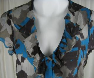 Banana Republic Print Shirt Top M L Ruffle Semi Sheer Womens Button
