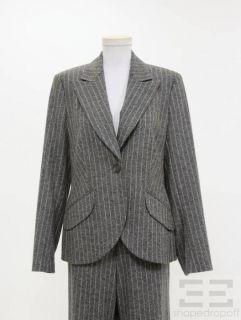 Escada Black Label 2pc Grey Pinstripe Wool Jacket & Pants Suit Size 42