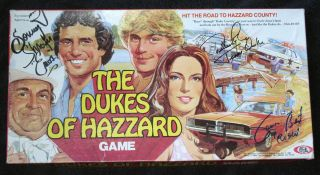 DUKES OF HAZARD BOARD GAME SIGNED DENVER PYLE JAMES BEST SONNY SHROYER