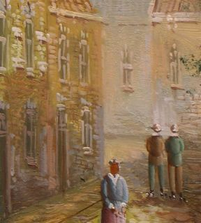Darley 19th Century Old Dutch Town Life Original Oil Painting Wood