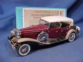 1930 DUESENBERG J DERHAM ROADSTER Diecast FRANKLIN MINT 1 24 Scale CAR