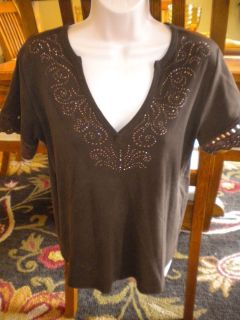 CHICOS Size 2 (SMALL/Medium) Chocolate Brown Cotton Short Sleeve T