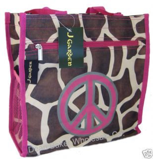 Peace Sign Pink Giraffe Animal Print Shopping Tote Bag