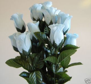 Artificial Silk Blue Raindrop Dew Drop Rose Bud Flower