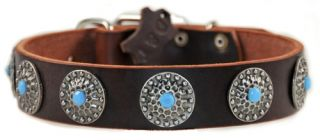 Queenie Leather Nickel Dog Collar Top Quality by D T