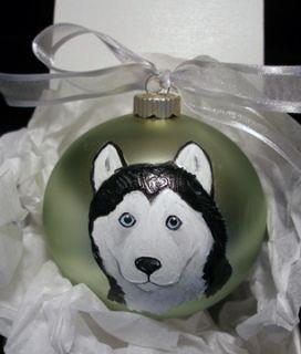 Siberian Husky Dog Hand Painted Christmas Ornament w Name