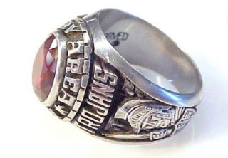 1983 Derry High School Class Ring w Red Stone Sz 10 25