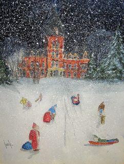 Framed DAVID ALLEN Original Winter Scene Watercolor Painting