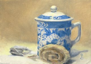 Sepos Daily Painting a Day Still Life Tea Nut Roll with lidded cup tea