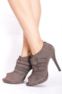 Grey 9 Faux Suede Peep Toe Buckles Platform Ankle Booties