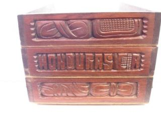 Vintage Ornate Letter Tray Desk Organizer Hand Carved Wood Honduras CA
