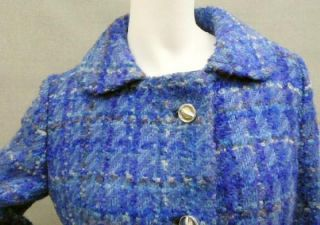 Fab Vtg Mod 50s 60s Nubby Wool Plaid Womens Winter Fashionable Coat