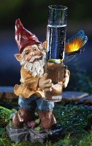 solar lighted garden gnome rain gauge new