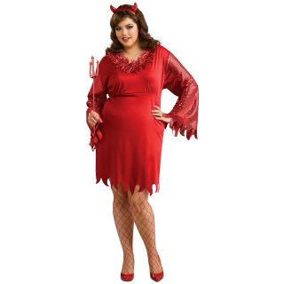 Devil Woman Plus Size Adult Womens Red Halloween Costume