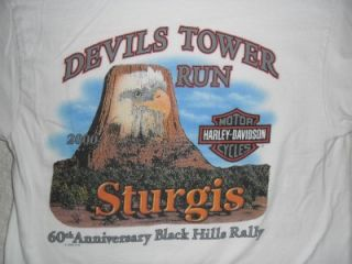 Black Hills Rally Devils Tower Run Sturgis T Shirt Large