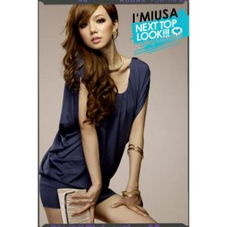 Sexy Women Deep V Wrinkle Hip Causal Short sleeve Dress Blue B6015_01