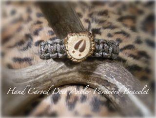 Carved Bone Collector Deer Burr Antler Paracord Survival Bracelet