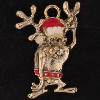 Charm Taz Devil Looney Tunes Gold Enamel Reindeer 5377