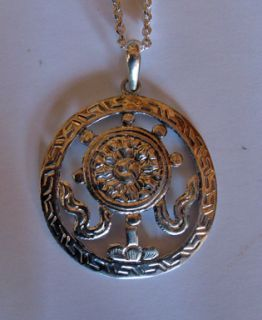 Tibetan Buddhist Pure Silver Auspicious Wheel of Dharma Necklace