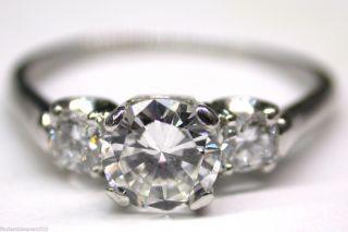 Vintage 1940s Platinum Round Diamond 3 Stone Engagement Wedding Ring