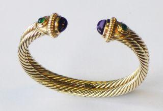 David Yurman 14KT Gold Bangle Bracelet Cabochon Amethyst & Emerald