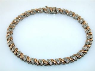 Diamond Sterling Silver Gold Vermeil Link Bracelet