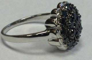 00ct Beautiful Black Round Diamond Cluster Ring, 9k White Gold