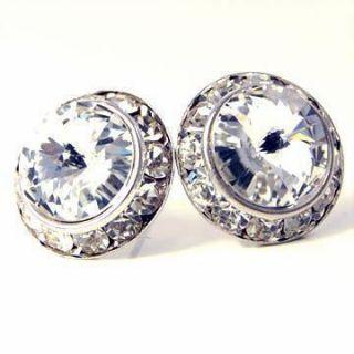 Elegant Clear Diamond Crystal Silver Post Stud Earrings 5 8 Costume
