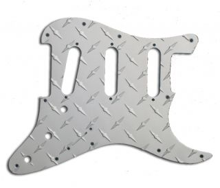 Strat Pickguard 3 Single Coil Aluminum Diamond Plate