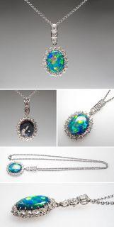 Black Opal & Diamond Pendant Necklace Solid Platinum Art Deco 1930s