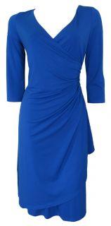 Royal Blue 3 4 Sleeve Faux Wrap Day Dress Size 10 New