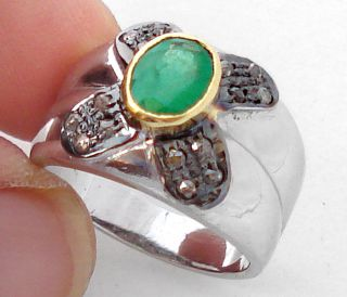 GREEN EMERALD OVAL VICTORIAN DIAMOND GOLD 925 STERLING SILVER RING